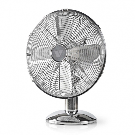 "12"" CHROME 3 SPEED OSCILLATING FREE-STANDING COOLING DESK TABLE FAN"