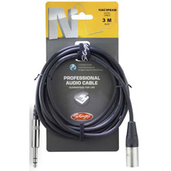 Stagg N-Series Pro Audio Cable - Stereo Phone Plug - Male XLR - 3m